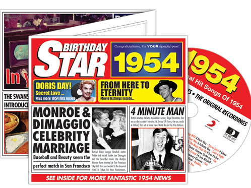 1954 Birthday Star Greeting Card with Hit Songs, Download Code and retro CD