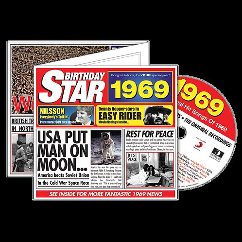 1969 Birthday Star - Year Of Birth Music Downloads Greeting Card + Retro CD