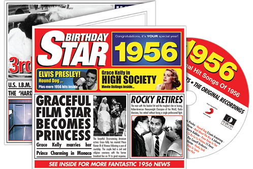 1956 Birthday Star Greeting Card with Hit Songs, Download Code and retro CD