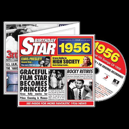 1956 Birthday Star - Year Of Birth Music Downloads Greeting Card + Retro CD