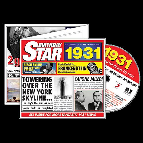 1931 Birthday Star - Year Of Birth Music Downloads Greeting Card + Retro CD