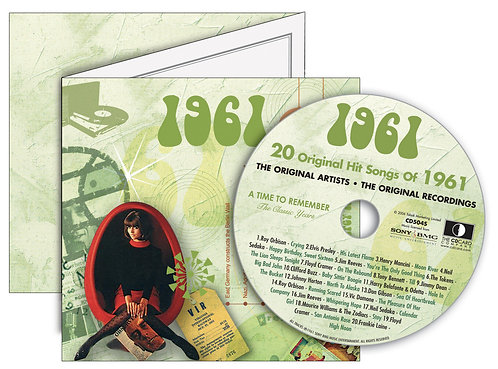 1961 Classic Years Greeting Card with Hit Songs, Download Code and retro CD