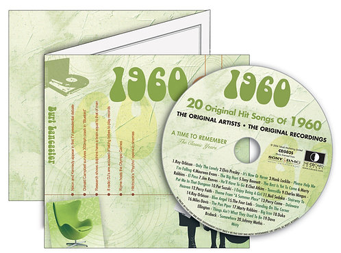 1960 Classic Years Greeting Card with Hit Songs, Download Code and retro CD