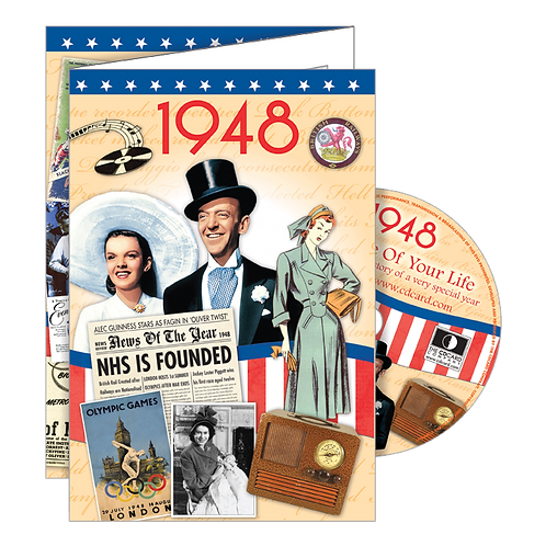 1948 Year Of Birth Greeting Card with DVD