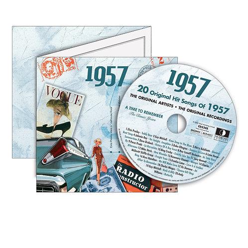 1957 Classic Years - Year Of Birth Music Downloads Greeting Card + Retro CD