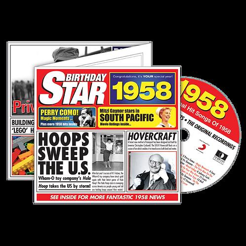 1958 Birthday Star - Year Of Birth Music Downloads Greeting Card + Retro CD