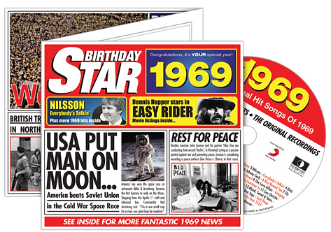 1969 Birthday Star Greeting Card with Hit Songs, Download Code and retro CD