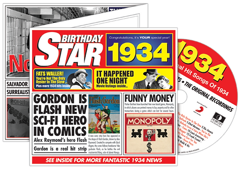 1934 Birthday Star Greeting Card with Hit Songs, Download Code and retro CD