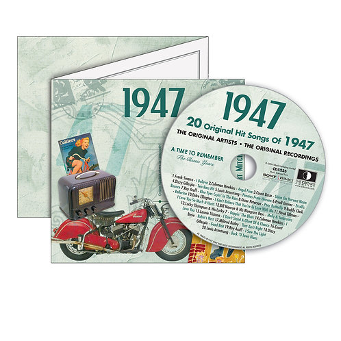 1947 Classic Years - Year Of Birth Music Downloads Greeting Card + Retro CD