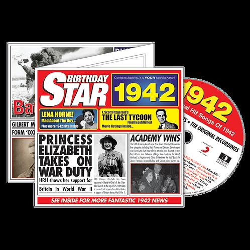 1942 Birthday Star - Year Of Birth Music Downloads Greeting Card + Retro CD