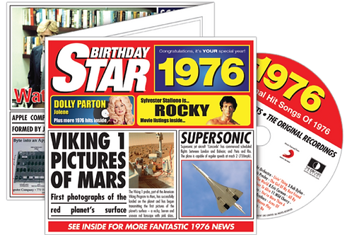 1976 Birthday Star Greeting Card with Hit Songs, Download Code and retro CD