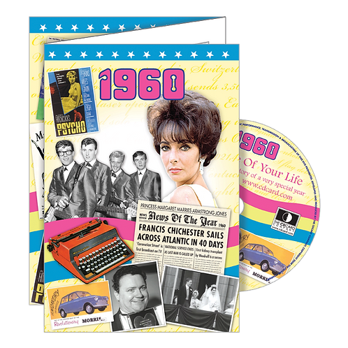 1960 Year Of Birth Greeting Card with DVD