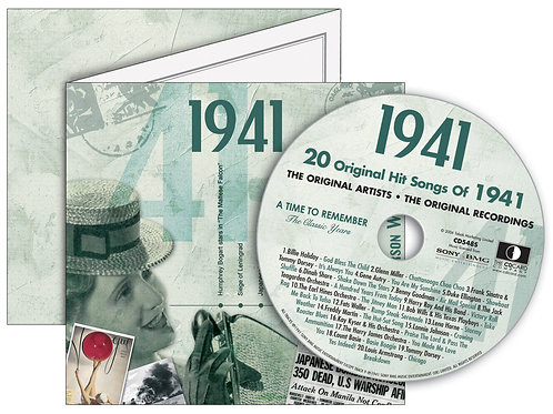 1941 Classic Years Greeting Card with Hit Songs, Download Code and retro CD