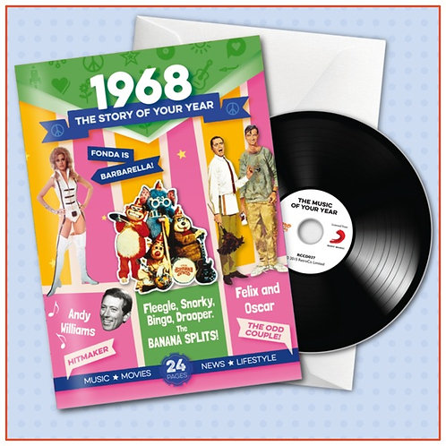 1968 Booklet Greeting Card with Hit Songs, Download Code and retro CD