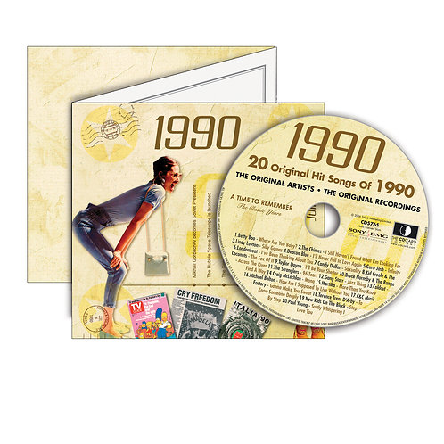 1990 Classic Years Greeting Card with Hit Songs, Download Code and retro CD