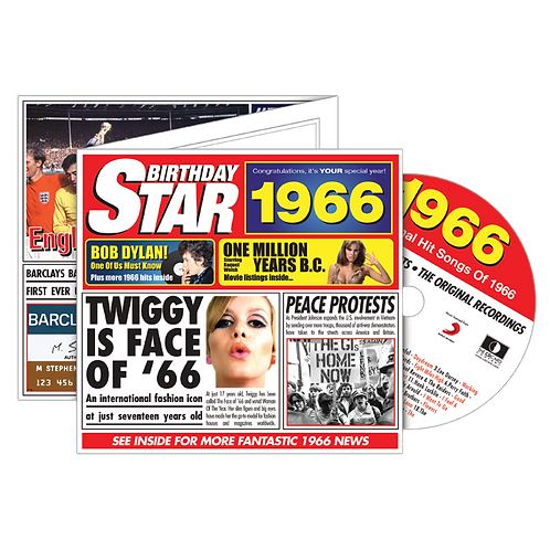 1966 Birthday Star - Year Of Birth Music Downloads Greeting Card + Retro CD