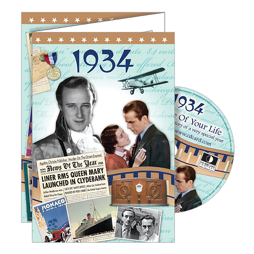 1934 The Time Of Your Life - Year Of Birth Greeting Card with DVD