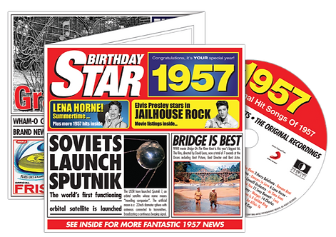 1957 Birthday Star Greeting Card with Hit Songs, Download Code and retro CD