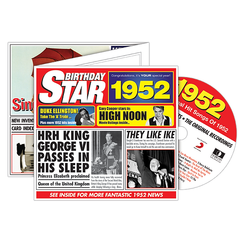 1952 Birthday Star - Year Of Birth Music Downloads Greeting Card + Retro CD
