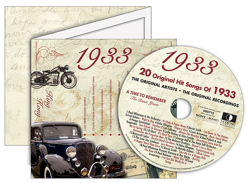 1933 Classic Years Greeting Card with Hit Songs, Download Code with retro CD