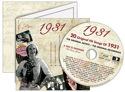 1931 Classic Years Greeting Card with Hit Songs, Download Code and retro CD