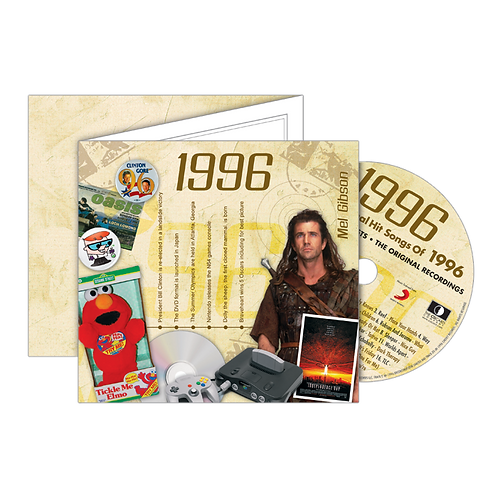 1996 Classic Years - Year Of Birth Music Downloads Greeting Card + Retro CD