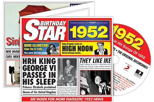 1952 Birthday Star Greeting Card with Hit Songs, Download Code and retro CD