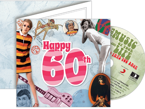 60th Birthday Greeting Card with Hit Songs, Download Code and retro CD