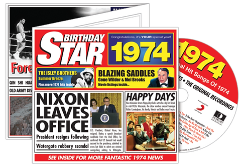 1974 Birthday Star Greeting Card with Hit Songs, Download Code and retro CD