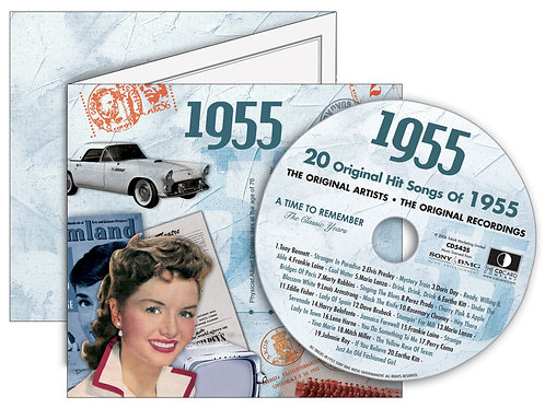 1955 Classic Years Greeting Card with Hit Songs, Download Code and retro CD