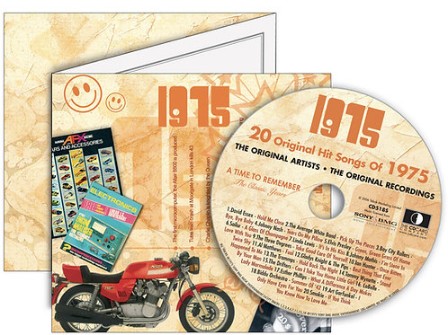 1975 Classic Years Greeting Card with Hit Songs, Download Code and retro CD