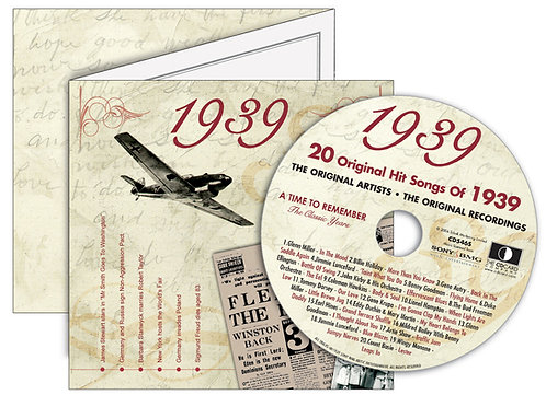 1939 Classic Years Greeting Card with Hit Songs, Download Code and retro CD