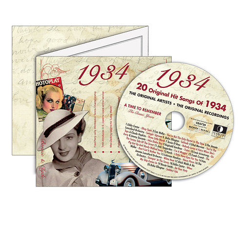 1934 Classic Years - Year Of Birth Music Downloads Greeting Card + Retro CD