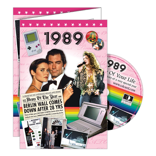1989 Year Of Birth Greeting Card with DVD