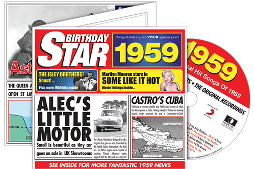 1959 Birthday Star Greeting Card with Hit Songs, Download Code and retro CD
