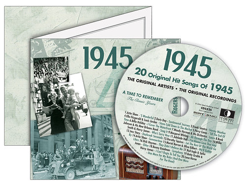 1945 Classic Years Greeting Card with Hit Songs, Download Code and retro CD