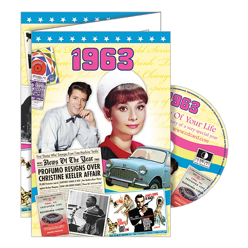1963 Year Of Birth Greeting Card with DVD