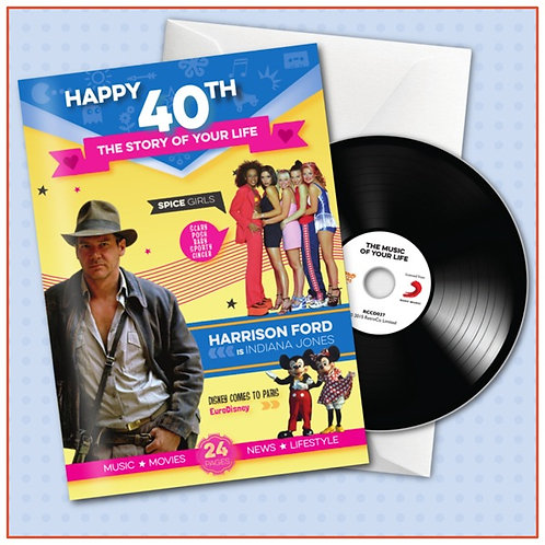 Happy 40th Booklet Card with CD and Music Download