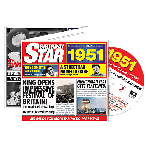 1951 Birthday Star - Year Of Birth Music Downloads Greeting Card + Retro CD
