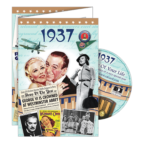 1937 Year Of Birth Greeting Card with DVD