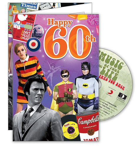 60th Birthday Big Greeting Card with Hit Songs, Download Code and retro CD