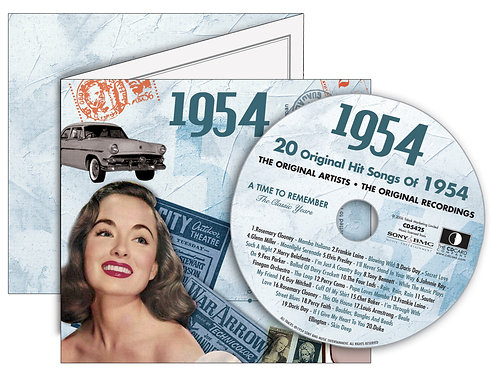 1954 Classic Years Greeting Card with Hit Songs, Download Code and retro CD