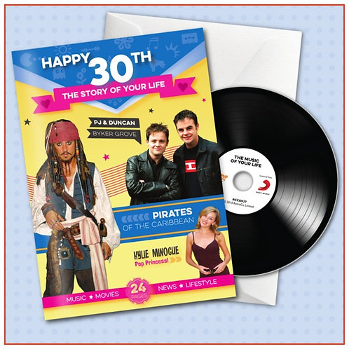 Happy 30th Booklet Card with Hit Songs, Download Code and retro CD