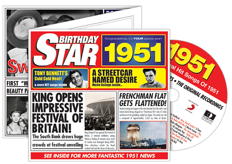 1951 Birthday Star Greeting Card with Hit Songs, Download Code and retro CD