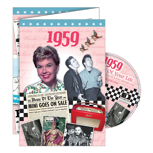 1959 Year Of Birth Greeting Card with DVD