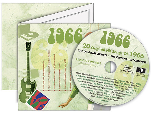 1966 Classic Years Greeting Card with Hit Songs, Download Code and retro CD