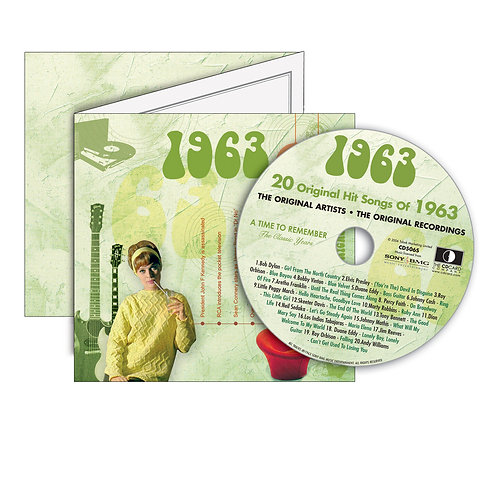 1963 Classic Years - Year Of Birth Music Downloads Greeting Card + Retro CD