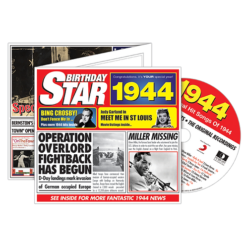 1944 Birthday Star  - Year Of Birth Music Downloads Greeting Card + Retro CD