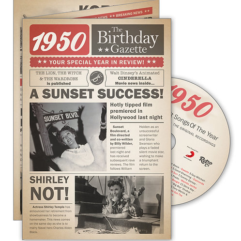 1950 Gazette Greeting Card with Hit Songs, Download Code and retro CD
