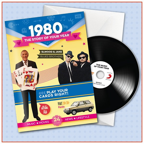 1980 Booklet Greeting Card with Hit Songs, Download Code and retro CD